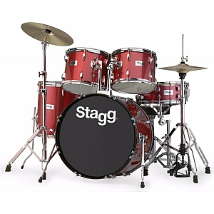 Stagg 5 Piece Acoustic Drum Kit (Red Sparkle)